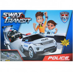 Pista cu vehicule politie, 33 piese/ cutie