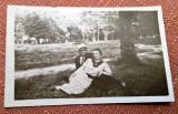 Cuplu pe insula Ada Kaleh - Fotografie tip carte postala datata 1937