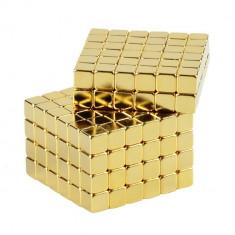 Neocube 216 cuburi magnetice 5mm, joc puzzle, culoare aurie