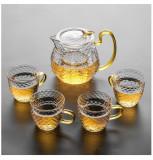Set Ceai din Sticla Borosilicata, Ceainic cu infuzor si 4 Cani