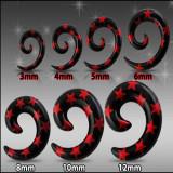 Expander pentru ureche, negru - spirală cu stele roşii - Lățime: 10 mm