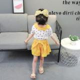 Costumas alb cu galben pentru fetite - Cirese (Marime Disponibila: 12-18 luni...