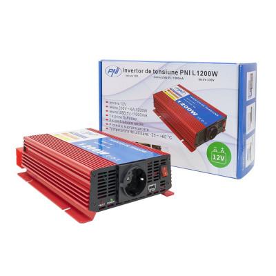 Resigilat : Invertor de tensiune PNI L1200W alimentare 12V iesire 230V foto