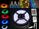 Cumpara ieftin Banda led RGB siliconica 60 SMD-uri 5050 metru cu telecomanda