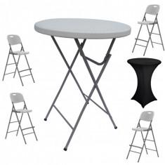 Set masa plianta rotunda inalta catering D80xH110cm cu 4 scaune pliante inalte si husa elastica neagra MN016694-10-66245 Raki