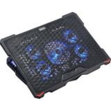 """Cooler laptop Serioux SRXNCP035 10-17.3"""" 5 ventilatoare USB Negru"""