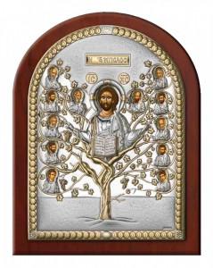 Icoana Pomul Vietii ClassGifts pe Foita de Argint 925 Auriu 12x16cm Cod Produs 1701