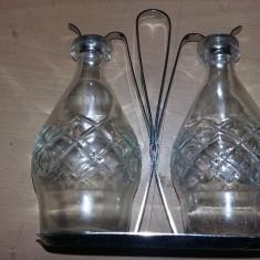 arta sticlarie vechi,serviciu sticle masa sticla/inox superb,de colectie,T.GRATU