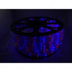 Instalatie Rola led rosu-albastru 10 m furtun luminos + alimentator inclus / instalatie de craciun
