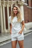 Cumpara ieftin Compleu LaDonna by Catalin Botezatu alb cu tricou si pantaloni scurti cu paiete