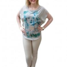 Bluza moderna de vara din voal cu imprimeu mare in fata