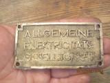 Emblema veche-placheta cupru-Germania-allgemeine elektricitaets gesellschaft