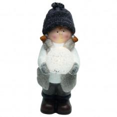 Figurina luminoasa Fetita, LED alb cald, 22 cm, alimentare baterii, ceramica