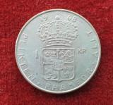 Moneda din Argint 1 Koroana 1968 Suedia Regele Gustaf VI Adolf