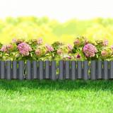 Pachet 4 buc. Bordura Gardulet Decorativ Plastic pentru Gazon sau Flori, Dimensiuni 28x24cm, Imitatie Lemn, Gri