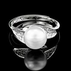 Inel din Argint 925 cu Perla Naturala si Diamante, Gloria White