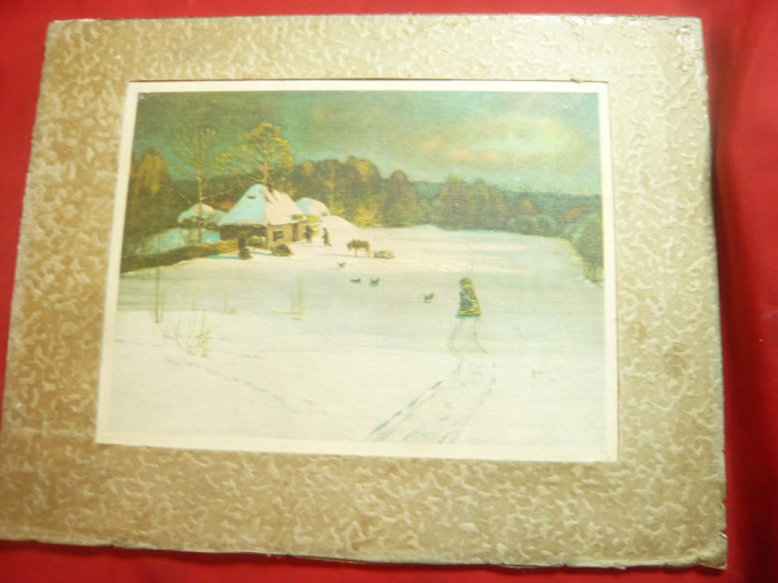 Tablou - Seara de iarna de N.Dubovskoi -Reproducere miniatura pe panza