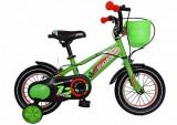Bicicleta Copii 12 Carpat Rider, Cadru Otel, Culoare Verde/Portocaliu, Roti Ajutatoare, Varsta 2-4 Ani, C1207C