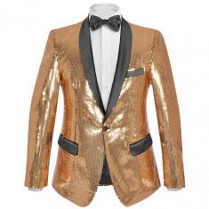 Sacou de ocazie pentru bărbați, cu paiete, mărime 56, auriu