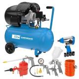 Cumpara ieftin Set compresor cu doi cilindri 405 10 50 Guede GUDE71177, 2200 W, 50 l, 10 bari, 15 piese