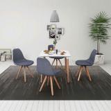 Set masă și scaune de bucătărie, alb și gri deschis, 5 piese, vidaXL