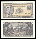 Bancnote România, bani vechi 5 lei 1952 -UNC