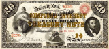 20 dolari 1864 Reproducere Bancnota USD , Dimensiune reala 1:1