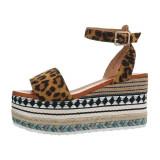 Sandale moderne, maro, cu platforma accesorizata, 38 - 40