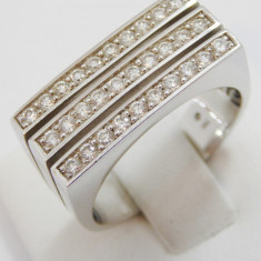 Inel cu diamante cca. 0.60 ct., aur alb 18k, 10.75 grame