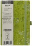Cumpara ieftin Bloc Notes Ivory Nature, 192 pagini, dictando, coperta PU, verde, motiv Robin