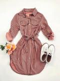 Cumpara ieftin Rochie ieftina casual stil camasa roz si neagra cu linii verticale si cordon in talie