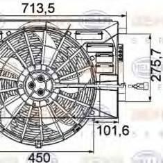 Ventilator, radiator LAND ROVER RANGE ROVER III (LM) (2002 - 2012) HELLA 8EW 351 041-301