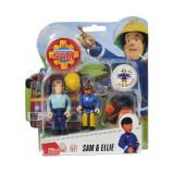 Set 2 figurine articulate Pompierul Sam, Ellie si Sam, 7.5 cm