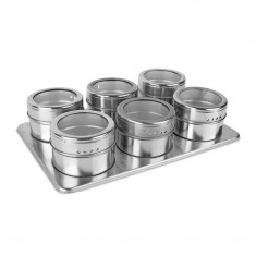 Set condimente Grunberg, 6 piese, suport magnetic