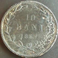 Moneda ISTORICA 10 BANI - ROMÂNIA, anul 1867 WATT  *cod 2411