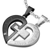 Pandantiv pentru cuplu, oțel 316L, argintiu și negru, inimă, cruce