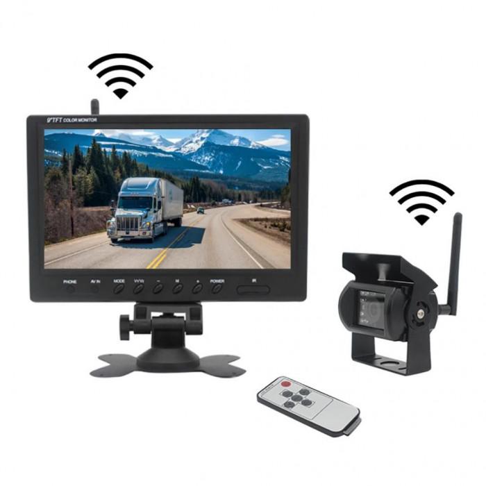 Kit marsarier wireless cu camera si display de 9 12V 24V, K610W pentru Camioane, Autocare, Bus-uri