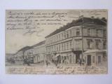 Rara! Timișoara-Bulevardul Franz Josef,tramvai,magazine,carte postala circ.1905