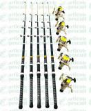Set de 5 lansete Black Panther 3,6m Cu 5 Mulinete LC540 5 Rulmenti
