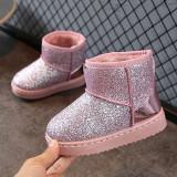 Cizme roz imblanite sclipici duochrome de iarna fete copii 32 33