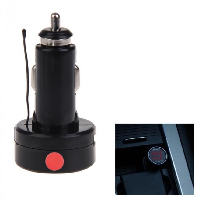 Voltmetru - Termometru auto, digital, afisaj rosu - rosu, conectare la bricheta
