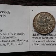 (A88) MONEDA DIN ARGINT GERMANIA - 1/2 MARK 1918, LIT., F, MATRITA SPARTA