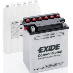 Baterie moto Acid cu intretinere EXIDE 12V 14Ah 130A R+ aerisire stanga 134x89x166 Incarcare uscata cu acid