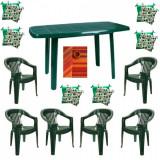 Set mobilier gradina masa demontabila MUTUM cu 6 scaune Jokei culoare verde,6 Pernute scaun,Fata de masa150x220cm B001051 Raki