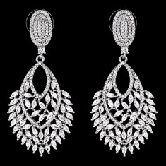 Cercei placati cu Aur 18K si Diamante, Cindy Platinum
