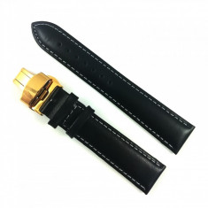 Curea ceas din piele neagra cu cusatura alba + Deployant Auriu 14mm 16mm 18mm 20mm 22mm 24mm
