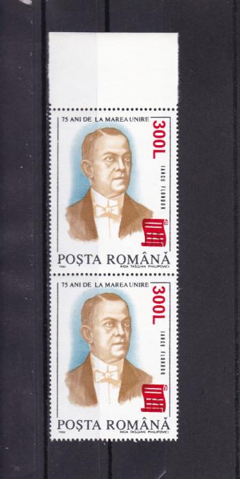ROMANIA 2001 LP 1556-75 ANI MAREA UNIRE SUPRTIPAR PAPIRUS PERECHE MNH