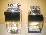 4078-Brichete Acvariu birou pereche sticla brichete metal pe gaz.