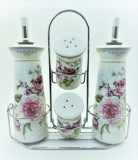 Set Oliviera si Recipient Condimente, Model Trandafiri cu suport metalic, Ceramica