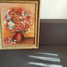 Pictura in ulei pe panza, semnat Maria Chilian, Dimensiuni 60x45, Flori, Miniatural